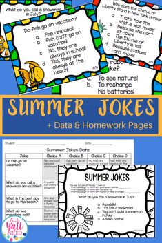 Try out this fun resource for summer jokes! It includes 20 jokes about summer to teach humor to K-2 students with language disorders. Topics include summer weather, the beach, The Fourth of July, and more! The jokes are designed to give children with special needs a way to learn jokes, humor, and punch lines. Each joke has 4 choices, and only one is the punch line. #SummerActivities  #SpeechTherapyActivities Receptive Language, Speech Language Pathology, Speech And Language, Language Arts, Speech Therapy Activities, Language Activities, Summer Jokes, End Of School Year, Reading Resources