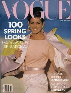 VINTAGE VOGUE: Cindy Crawford on the cover of Vogue February 1990 in Oscar de la Renta