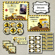Construction Theme Party Package - DIY - You Print - DELUXE PACKAGE