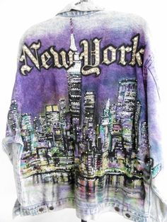 Tony Alamo New York Jacket M 80s Swarovski Crystals Hand Painted
