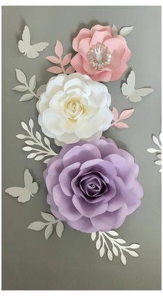 Paper Flower Wall, Giant Paper Flowers, Tissue Paper Flowers, Paper Flower Backdrop, Paper Roses, Diy Flowers, Paper Flowers Wall Decor, Purple Nursery Decor, Blush Nursery