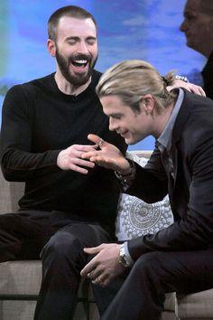 The Avengers Cast - Chris Evans and Chris Hemsworth