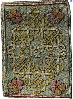 Embroidered book cover made by Queen Elizabeth I given as a gift