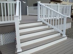 Elegant Balcony Deck Design Ideas With White Wood Fence Railing And Low Staircase Featuring Wooden Steps of Simple Custom Decking And Fencing Designs  Custom Design Fence and Deck Vinyl Fencing Decking Privacy Fence Designs for Decks Decking Fence Panels Decking and Fencing Aberbargoed . 600x449 pixels