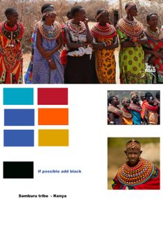 Africa mosaic of sound & vision Hemyock school, colour board for Samburu tribe