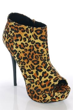 Leopard Print Open-Toe Bootie Heels - As seen on Rihanna and Kim Kardashian