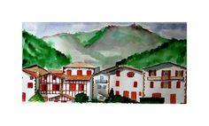Peinture aquarelle grand format de Ainhoa et la Rhune au Pays ...