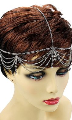 """Nicole"" Crystal HeadChain - So Sexy Fashion Store Flapper Era, Flapper Style, Girl Pranks, Funny Pranks, Funny Jokes, Head Chain Jewelry, Funny Ghost, People Videos, Gatsby Style"