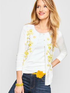 Charming Cardigan-Daisy Embroidered - Talbots