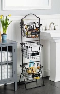 This Market Basket Stand is the practical and elegant storage solution that will bring organization to any room of the house. Each of the 3 generous-sized baskets is ideal for holding everythi (Diy Bathroom Dollar Stores) Bathroom Storage Shelves, Diy Storage, Toilet Storage, Storage Baskets, Kitchen Storage, Diy Kitchen, Kitchen Ideas, Kitchen Sinks, Kitchen Small