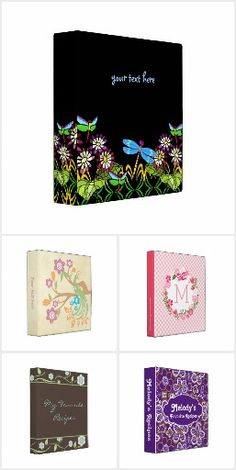 Personalized Floral Binders.  Create your own binder for so many different uses: recipes, wedding photos, schoolwork... http://www.zazzle.com/floralsunshine?rf=238200194340614103