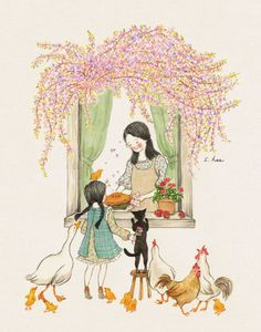 Image uploaded by Naty. Find images and videos about girl, cat and wallpaper on We Heart It - the app to get lost in what you love. Cute Illustration, Watercolor Illustration, Watercolor Paintings, Cute Cartoon Wallpapers, Korean Artist, Cute Images, Anime Art Girl, Cute Drawings, Cat Art