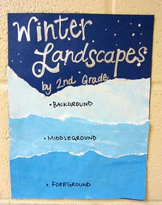 This 'winter landscape' by grade is great because it covers a lot of art lessons in one: tints, foreground, middleground, and backgroun. Winter Art Projects, School Art Projects, Art School, Bastelarbeit Winter, Winter Craft, Landscape Art Lessons, Doodle Drawing, 2nd Grade Art, Grade 2
