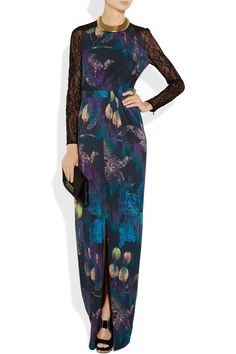 Matthew Williamson|Lace-sleeved printed jersey gown|NET-A-PORTER.COM