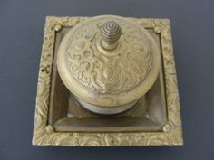 Antique Brass Desk Top Ink Well by marketsquareus on Etsy