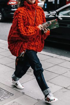 Handknit chunky cable sweater #streetstyle