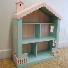 Cottage Dollhouse Bookcase Available CoachBarn In Custom Turquoise And Pink Kidsbookcase