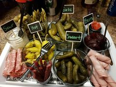 Pickle tray with chalkboard labels. Rolled meats and salami sticks to give it a little extra Meat Platter, Food Platters, Pickled Olives, Wedding Buffet Food, Antipasto Skewers, Relish Trays, Wedding Appetizers, Cheese Party