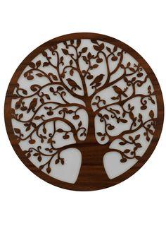 """Lebensbaum Baum des Lebens aus Holz  Graviert-""""Symbol der Kosmischen Ordnung"""". Weiße Hintergrund Wanddeko Holzdeko  Wandbild Dekoration Deko Geschenk zum Geburtstag Hochzeit  Muttertag Weihnachten"""