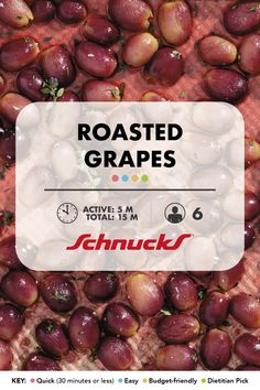 Roasted Grapes When you have extra grapes roasting can be a great way to use them up They make a delicious snack or a great addition to many other meals Serve them hot or. Veggie Recipes, New Recipes, Yummy Snacks, Yummy Food, Red Grapes, Easter Dinner, Vegan Vegetarian, Cooking Tips