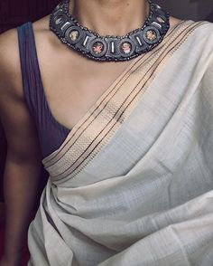 Cool grey color plain printed border saree with abstract color fancy blouse Indian Attire, Indian Wear, Indian Outfits, Indian Dresses, Ethnic Fashion, Indian Fashion, Saree Fashion, Women's Fashion, Fashion Outfits