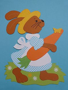 Fensterbilder Tonkarton Hasendame Milli Ostern/Frühling Fruit Crafts, Bee Crafts, Diy And Crafts, Easter Art, Easter Crafts, Easter Bunny, Felt Templates, Felt Bunny, Paper Gift Bags
