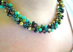 Love the mix of bead sizes in this Kumihimo necklace