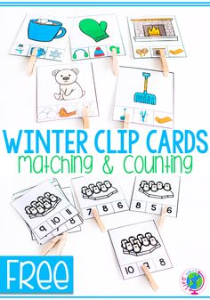 Free printable winter activity for preschoolers. Use the winter themed clip cards to practice matching and number recognition. Great for one to one correspondence and learning ten frames in your winter math centers! Seasons Activities, Winter Activities For Kids, Kindergarten Activities, Counting Activities, Winter Thema, Free Preschool, Preschool Winter, Math Centers, Number Recognition