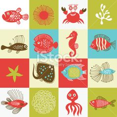 set of fishes and marine life Royalty Free Stock Vector Art Illustration