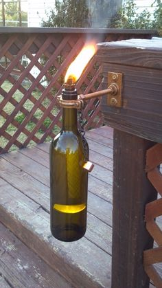 Make unique tiki torches out of empty wine  beer bottles!  Lots of pics and easy to follow!  So simple to make!