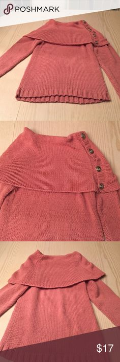 Sweater Mauve colored sweater with 4 buttons  with rhinestones (some missing but it is not noticeable) along the left side of neck.  In nice condition.  Comes from clean and smoke free home. cami Sweaters