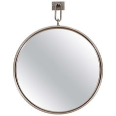 Contemporary Circular Steel Mirror with Pewter Finish | From a unique collection of antique and modern wall mirrors at https://www.1stdibs.com/furniture/mirrors/wall-mirrors/