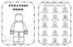 LEGO Block Feelings and Behavior Workbook Source by Jillilise Lego Activities, Counseling Activities, Therapy Activities, Lego Therapy, Therapy Tools, Therapy Ideas, Teaching Emotions, Social Emotional Learning, Feelings Chart