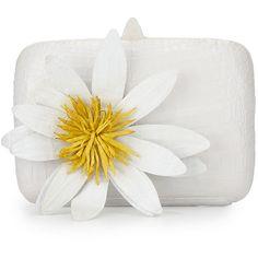 Nancy Gonzalez Crocodile Lotus Box Clutch Bag (€1.715) ❤ liked on Polyvore featuring bags, handbags, clutches, handbags clutches, white multi, crocodile purse, hardcase clutch, nancy gonzalez handbags and flower handbags
