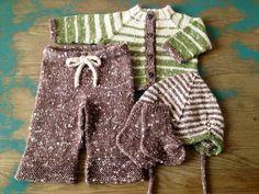 Hand Knit Baby Sweater Pants Hat & Socks Set in by KnitsieBitsie