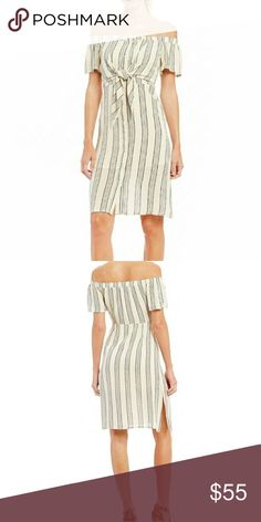 "🍍3/45 Gianni bini Striped Midi Matilda dress Off-the-shoulder Ivory and black printed dress. Front tie.  Button closure in the front.  Bust measures 17 1/2 length from pit down is 31"" Perfect for Sunday brunch or a Saturday afternoon shopping! Gianni Bini Dresses Midi"