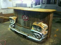 Re-purposed car front end. Think I'll make one for the patio! Re-purposed car front end. Think I'll make one for the patio! Car Part Furniture, Automotive Furniture, Automotive Decor, Furniture Ideas, Handmade Furniture, System Furniture, Furniture Design, Garage Furniture, Furniture Chairs