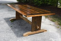 Reclaimed Barn Wood Harvest Parson Spindle Sawbuck Wood Base X Dining Table + Furniture Kitchener Toronto Guelph Hamilton Barnwood Coffee Table, Reclaimed Dining Table, Solid Wood Coffee Table, Trestle Dining Tables, Reclaimed Wood Furniture, Reclaimed Barn Wood, Metal Furniture, Table Furniture, Types Of Coffee Tables