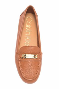 b907c86a535 Calvin Klein Lunasi Driving Loafer Sz 9.5 Cognac Brown Pebbled Leather  Womens  fashion  clothing