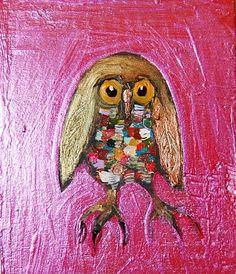 owl against fuschia wall by Eli Halpin
