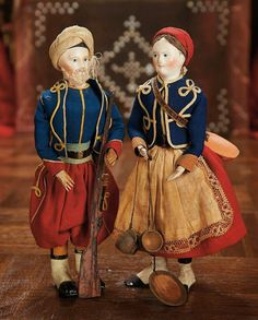 In the Swan's Shadow: French Papier-Mache Dolls in Original Zouave Soldier and Vivandiere Costumes