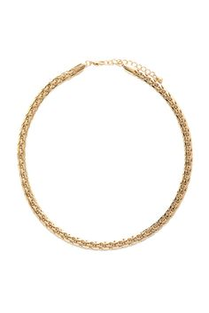 A high-polish collar necklace with a lobster clasp and a flat braided chain.