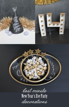 New Years Eve Party decorations from sisterssuitcaseblog.com #newyearseve #blackandgold #party