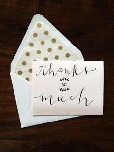 Thanks So Much Modern Calligraphy Card via Etsy @allieway1