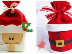 Manualidad de Dulcero de Papá Noel hecho en fieltro Pots, Christmas Stockings, Vase, Holiday Decor, Ideas, Home Decor, Fiestas, Arts And Crafts, Plastic Recycling
