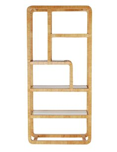 Vintage Rattan Etagere after Milo Baughman or Franco Albini | From a unique collection of antique and modern shelves at https://www.1stdibs.com/furniture/storage-case-pieces/shelves/