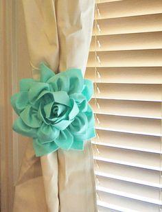 Mint Dahlia Flower Curtain Tie Backs #baby_nursery_decor #curtain_holdback #curtain_holder