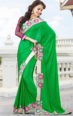 Picture of Awesome Green Indian Party Wear Saree