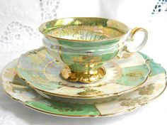 Got this one for my Mom, so beautiful:)) lusterware tea cup trio green tea cup luster by MinoucBrocante