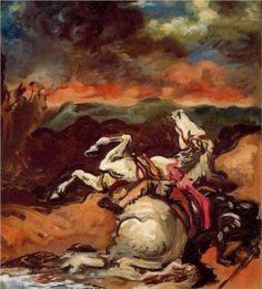 Giorgio de Chirico (1888 - 1978) | Neo-baroque | Fallen horse